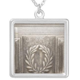 roman forum, laurel design on marble stone block square pendant necklace