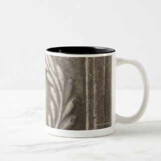 roman forum, laurel design on marble stone block Two-Tone coffee mug