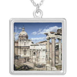 Roman Forum, Rome, Italy Square Pendant Necklace