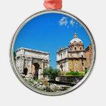 Roman forum round metal christmas ornament