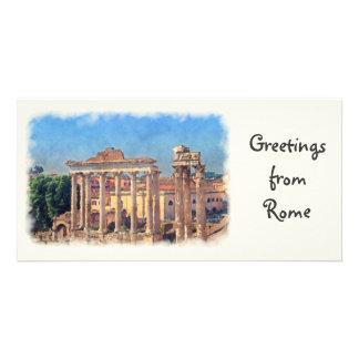 Roman forum ruins photo card