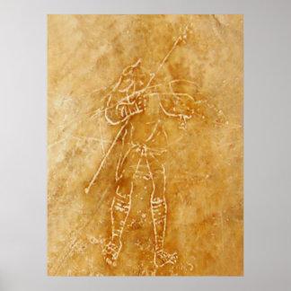 Roman Gladiator Graffiti Poster