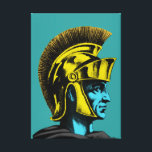 """Roman Gladiator Pop Art Portrait Canvas Print<br><div class=""""desc"""">Roman Gladiators often fought to the death within the walls of Rome's ancient Colosseum. The Roman Gladiator Pop Art Portrait is a graphic illustration of one of these gladiators. The pop art gladiator portrait is in brightly colored shades of yellow and turquoise with grey and black. If you are a...</div>"""