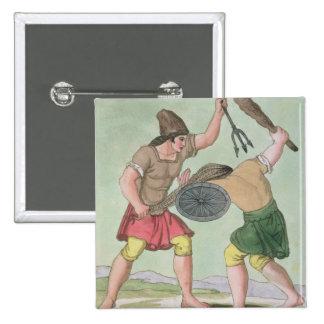 Roman Gladiators, from 'L'Antica Roma', 1825 (colo Pinback Button