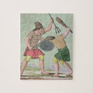 Roman Gladiators, from 'L'Antica Roma', 1825 (colo Jigsaw Puzzles