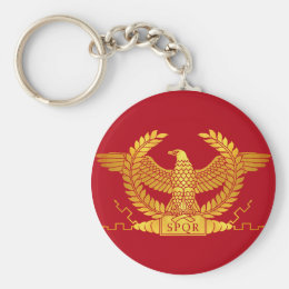 Roman Golden Eagle on Red Keychain
