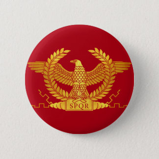 Roman Golden Eagle on Red Pinback Button