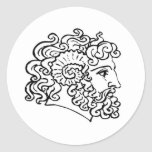 Roman Heads Round Stickers