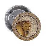 Roman Lion Mosaic Pinback Button