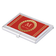 Roman Monogram Business Card Holder