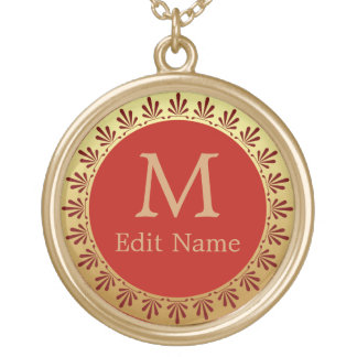 Roman Monogram Gold Plated Necklace