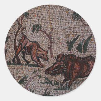 Roman Mosaic Round Sticker