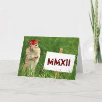 Roman Numeral 2012 Chipmunk Graduate Greeting Card