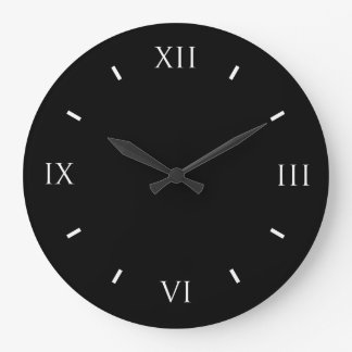 Roman Numeral Black Wall Clock Round