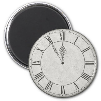 Roman Numeral Clock Face B&W 2 Inch Round Magnet