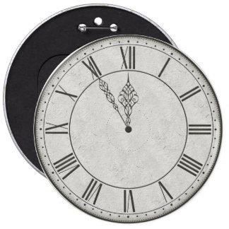 Roman Numeral Clock Face B&W Button
