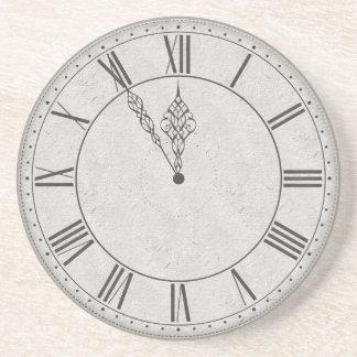 Roman Numeral Clock Face B&W Coaster