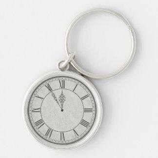 Roman Numeral Clock Face B&W Keychain