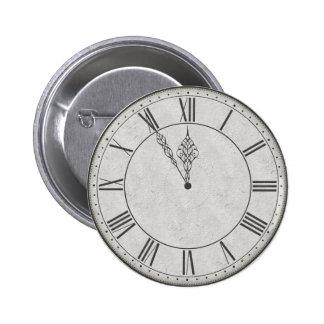 Roman Numeral Clock Face B&W Pinback Button