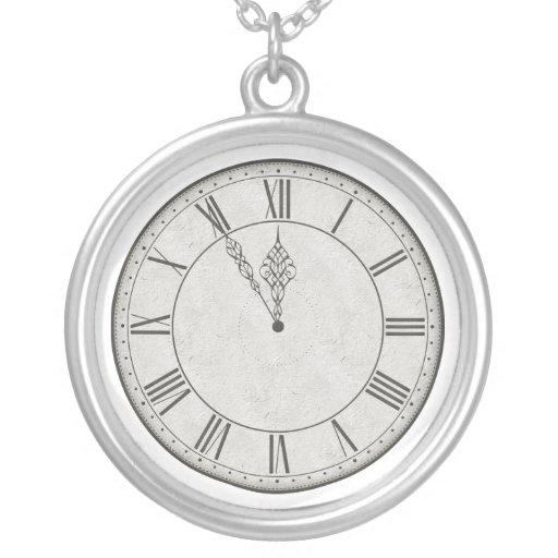 Roman Numeral Clock Face B&W Round Pendant Necklace