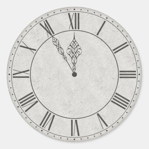 Roman Numeral Clock Face B&W Sticker