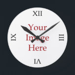 """Roman Numeral Create Your Own Round Clock<br><div class=""""desc"""">Create Your Own clock with these black Roman Numerals by adding your own image</div>"""