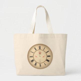 Roman Numerals Clock Design Large Tote Bag