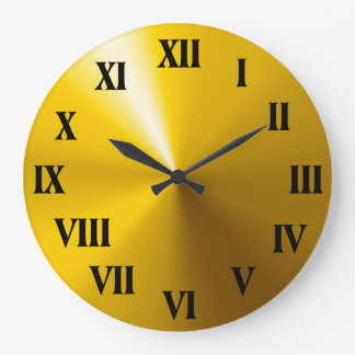 Roman Numerals Clock with Shiny Gold Background