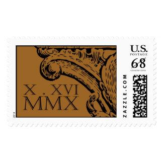 Roman numerals monogram postage