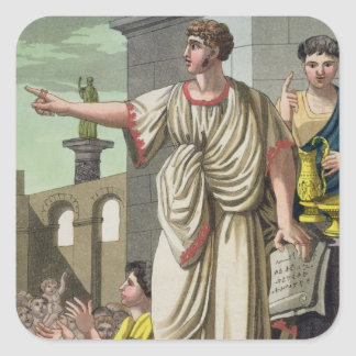Roman Orator, from 'L'Antica Roma', 1825 (colour l Square Sticker