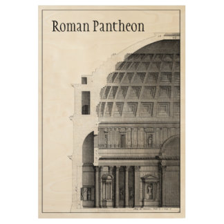 Roman Pantheon Classical Architecture Wood Poster