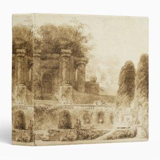Roman Park with Fountain by Jean-Honore Fragonard Vinyl Binder