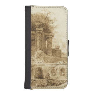 Roman Park with Fountain by Jean-Honore Fragonard iPhone 5 Wallet Case