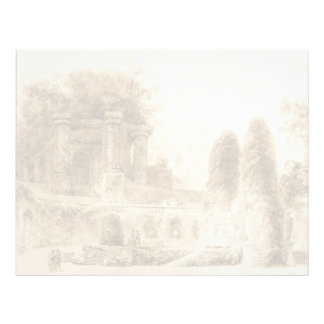 Roman Park with Fountain by Jean-Honore Fragonard Letterhead