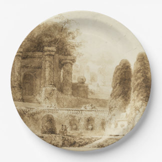Roman Park with Fountain by Jean-Honore Fragonard 9 Inch Paper Plate