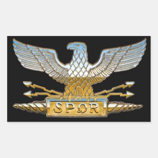 Roman Republican Eagle in Chrome Rectangular Sticker