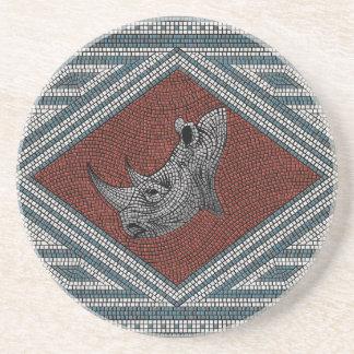 Roman Rhino Mosaic Drink Coaster