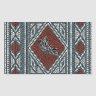 Roman Rhino Mosaic Rectangular Sticker