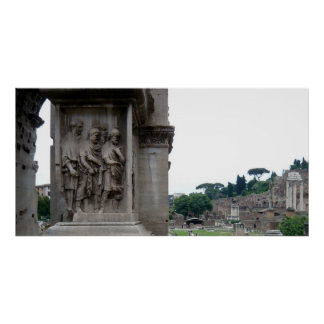 Roman Ruins Entrance in Rome Italy Poster