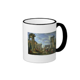 Roman Ruins with a Prophet, 1751 Ringer Mug
