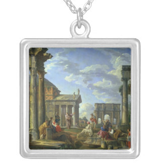 Roman Ruins with a Prophet, 1751 Silver Plated Necklace