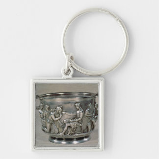 Roman silver-gilt drinking cup Silver-Colored square keychain