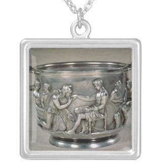 Roman silver-gilt drinking cup silver plated necklace