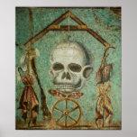 Roman skull mosaic art poster by S. Ambrose