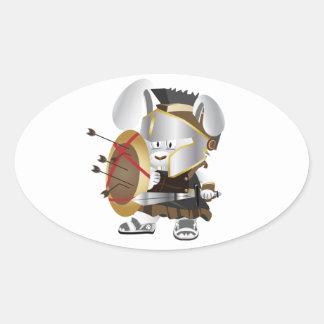 Roman Soldier Bunny Oval Sticker