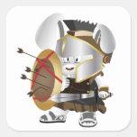 Roman Soldier Bunny Square Sticker