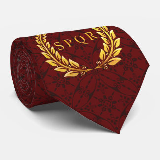 Roman SPQR Laurel Tie with Mosaic Pattern