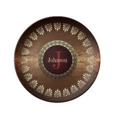 Roman Style Custom Monogram Dinner Plate