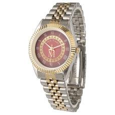 Roman Style Custom Monogram Wristwatch