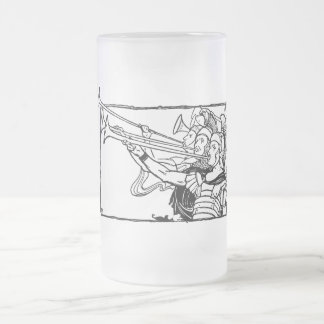 Roman Trumpeters Frosted Glass Beer Mug